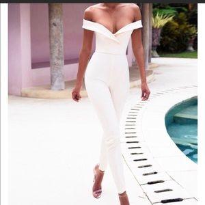Bella light blush off shoulder jumpsuit HouseOfCB